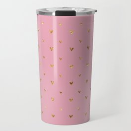 Small sketchy gold hearts pattern on pink background Travel Mug