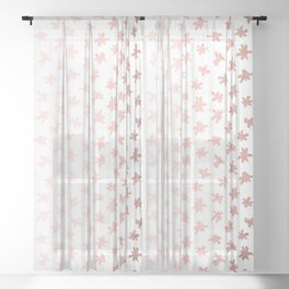 Rose Gold On White Foil Paint Line Dots Stripes Design XIII Sheer Curtain