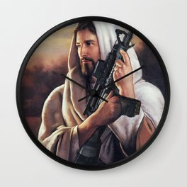 Assault Rifle Jesus Christ Messiah - Who WOuld Jesus Shoot Wall Clock