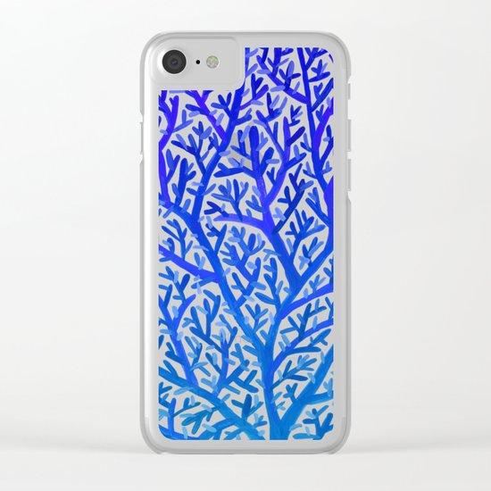 Fan Coral – Blue Ombré Clear iPhone Case