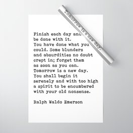 Ralph Waldo Emerson, Finish Each Day Inspirational Quote Wrapping Paper