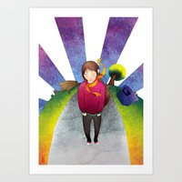 Walking in a sunny day Art Print