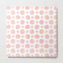 Blush pink coral modern summer cactus floral Metal Print