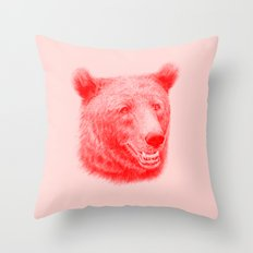 Brown bear is red and pink Throw Pillow