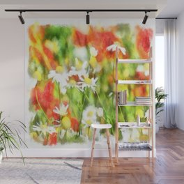 The Colors Of Spring On A Sunny Day Watercolor Wall Mural