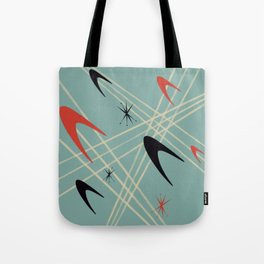 Blue Mid Century Modern Pattern Tote Bag
