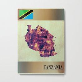 Tanzania Map with Flag Metal Print