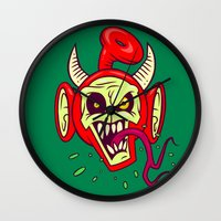evil dead Wall Clocks featuring Evil Dead Po by Artistic Dyslexia