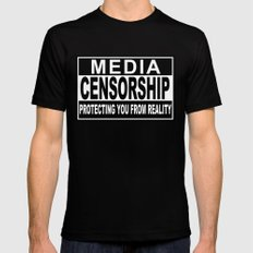 Media Censorship Protecting You From Reality Mens Fitted Tee Black MEDIUM