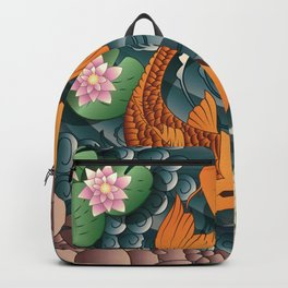 Carp Koi Fish in pond 001 Backpack