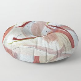 Lightly: an abstract mixed media piece in pinks, green, red, black and white Floor Pillow