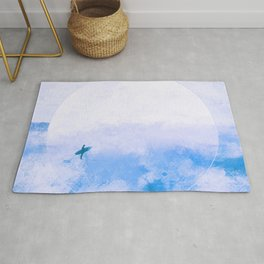 Cool Blue Moon Surf Abstract Rug