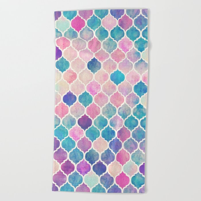 Attirant Rainbow Pastel Watercolor Moroccan Pattern Beach Towel