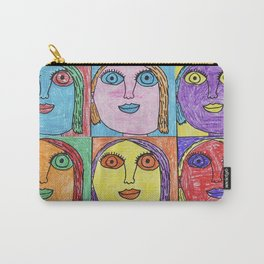 """girlfriend is better"" pop art in blue, purple, orange, green and red Carry-All Pouch"