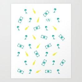 Palm Trees, Bottles & Money Art Print