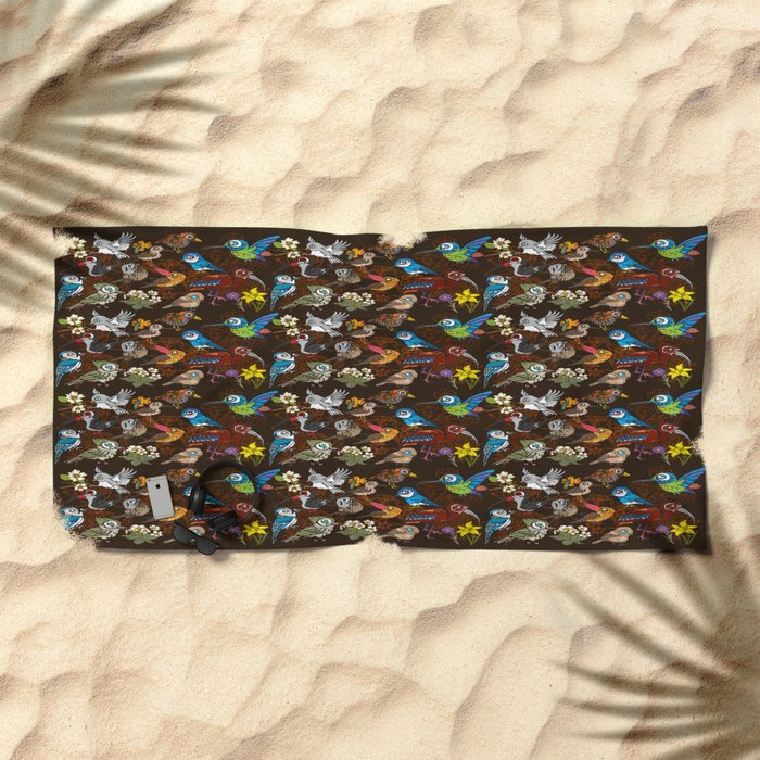 CA 12 BIRDS (CA鳥風月) Beach Towel
