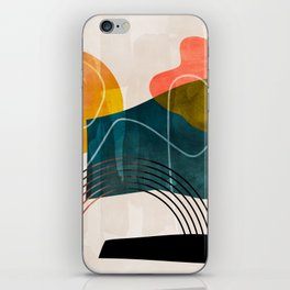 mid century shapes abstract painting iPhone Skin