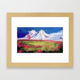 Mountain landscape digital painting Framed Art Print