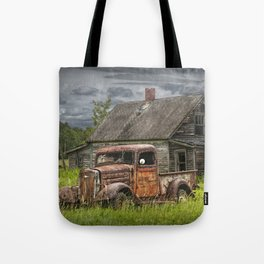 Old Vintage Pickup in front of an Abandoned Farm House Tote Bag