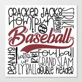 Baseball Typo Canvas Print