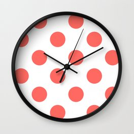 Large Polka Dots - Pastel Red on White Wall Clock