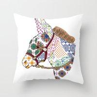 donkey Throw Pillows featuring DONKEY by Mai Kurihara
