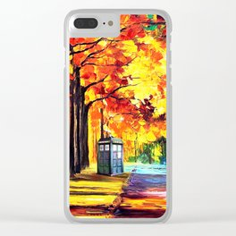 Tardis Stay Alone Clear iPhone Case