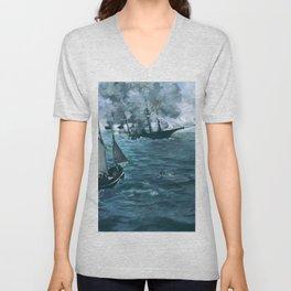 Edouard Manet - The Battle of the USS Kearsarge and the CSS Alabama - Digital Remastered Unisex V-Neck