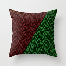 Trippy Triangle Color-Split (Red/Green) Throw Pillow