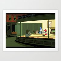 regular show Art Prints featuring regular show nighthawks by Dave Collinson