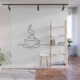 Single Line Coffee Cup Illustration Wall Mural