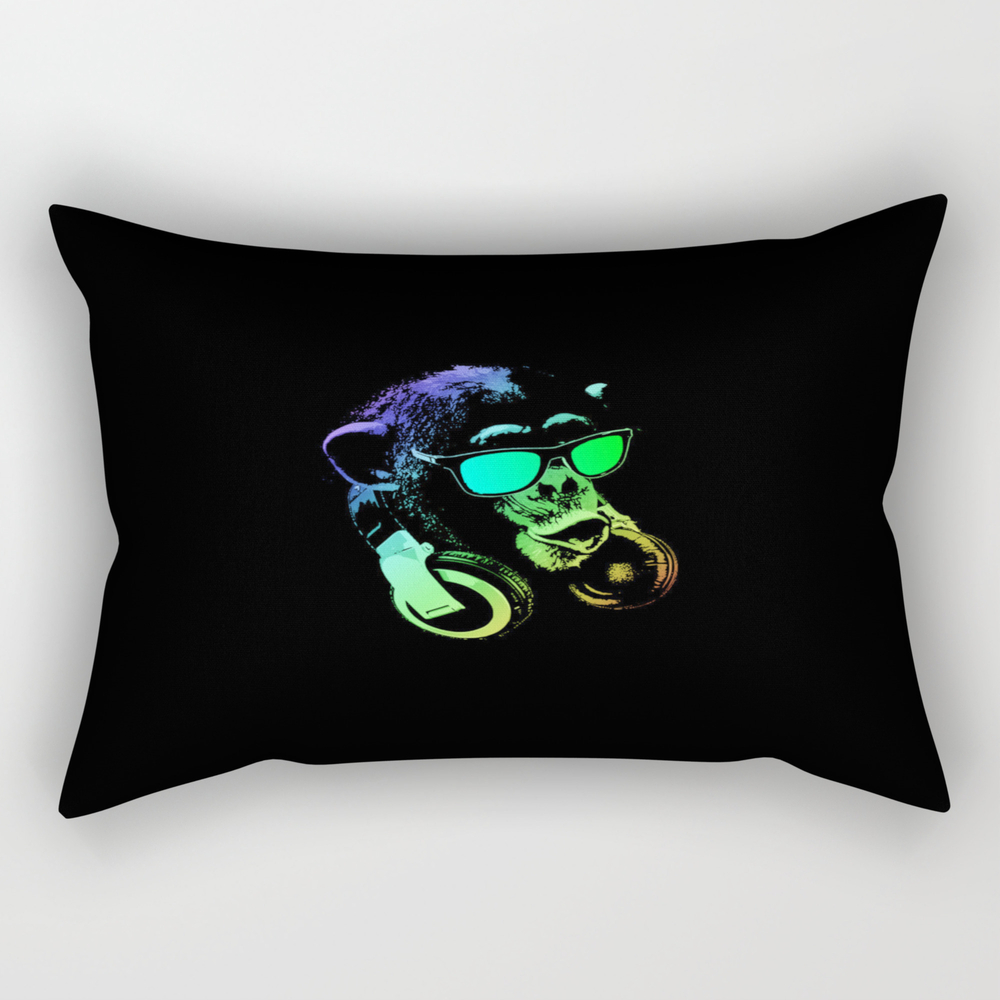 Neon Monkey Dj Rectangular Pillow RPW8740161