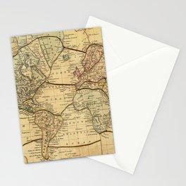 Vintage World Map Puzzle Illustration (1840) Stationery Cards