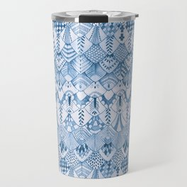 Tribal Owl Feathers in Delft Blue Travel Mug