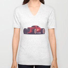 GAZ GL1 Custom Vintage Hot Rod Classic Street Racer Car - Red Unisex V-Neck