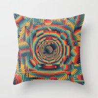 glitch Throw Pillows featuring glitch by Blaž Rojs