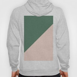 Soft Pink & Army Green - oblique Hoody