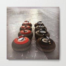 Curling on the lake Metal Print