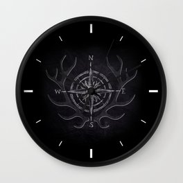 Compass and Antlers in Chalk Wall Clock