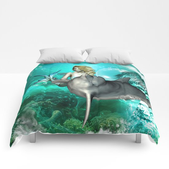 Beautiful mermaid with cute dolphin  Comforters