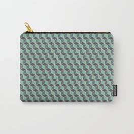 Pistachio Grey Seamless Cube Pattern Carry-All Pouch