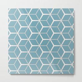 Sea Foam Blue Geometric Pattern Metal Print