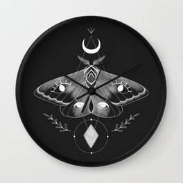 Mystic Moth - Black Wall Clock