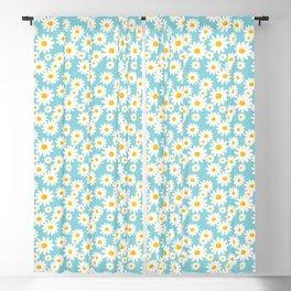 White Daisies Heaven Blue Blackout Curtain