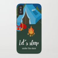 backpack iPhone & iPod Cases featuring Camping blue tent by Juliana RW