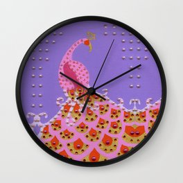Peacock in Pink Wall Clock