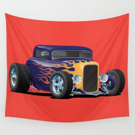 Vintage Hot Rod Car with Classic Flames Wall Tapestry