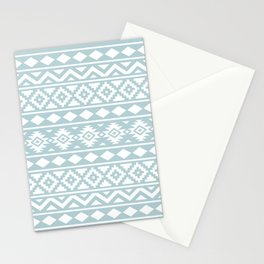 Aztec Essence Ptn III White on Duck Egg Blue Stationery Cards