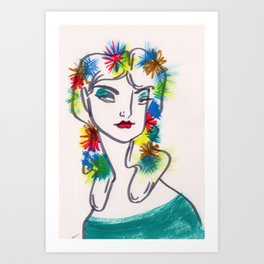 Flora in Her Hair Art Print
