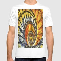 Spiral Staircase Van Gogh White MEDIUM Mens Fitted Tee